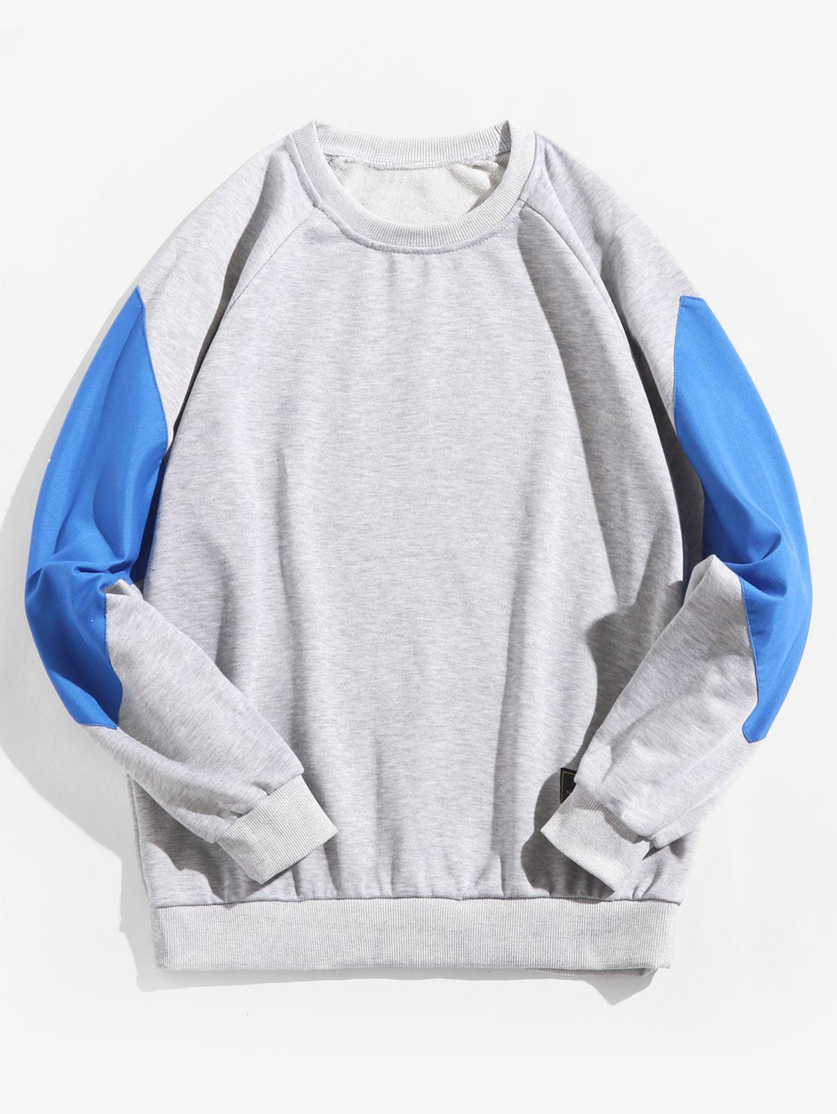 Raglan Sleeve Color Block Splicing Round Neck Sweatshirt фото