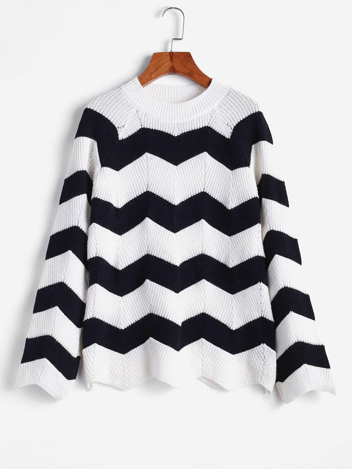 ZAFUL Zigzag Mock Neck Raglan Sleeve Knit Sweater