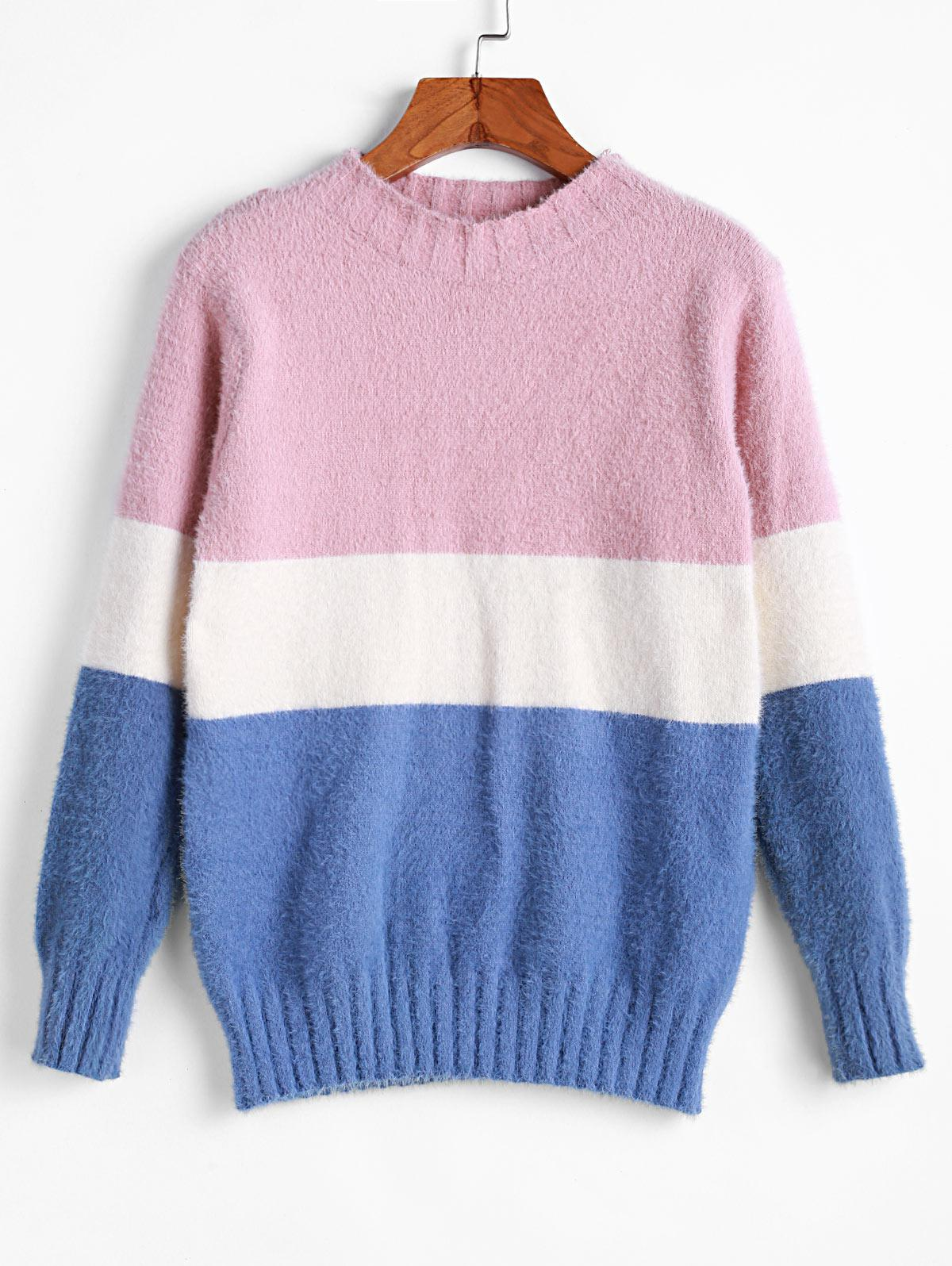 ZAFUL Color Block Contrast Fuzzy Knitted Sweater