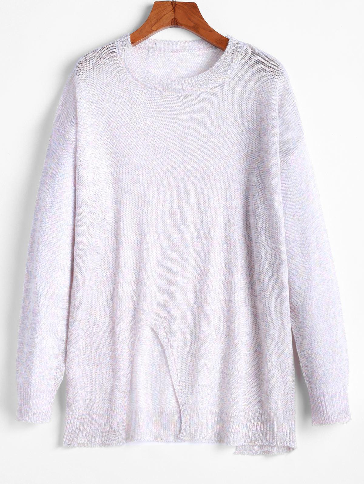 ZAFUL Metallic Thread Slit Drop Shoulder Tunic Sweater