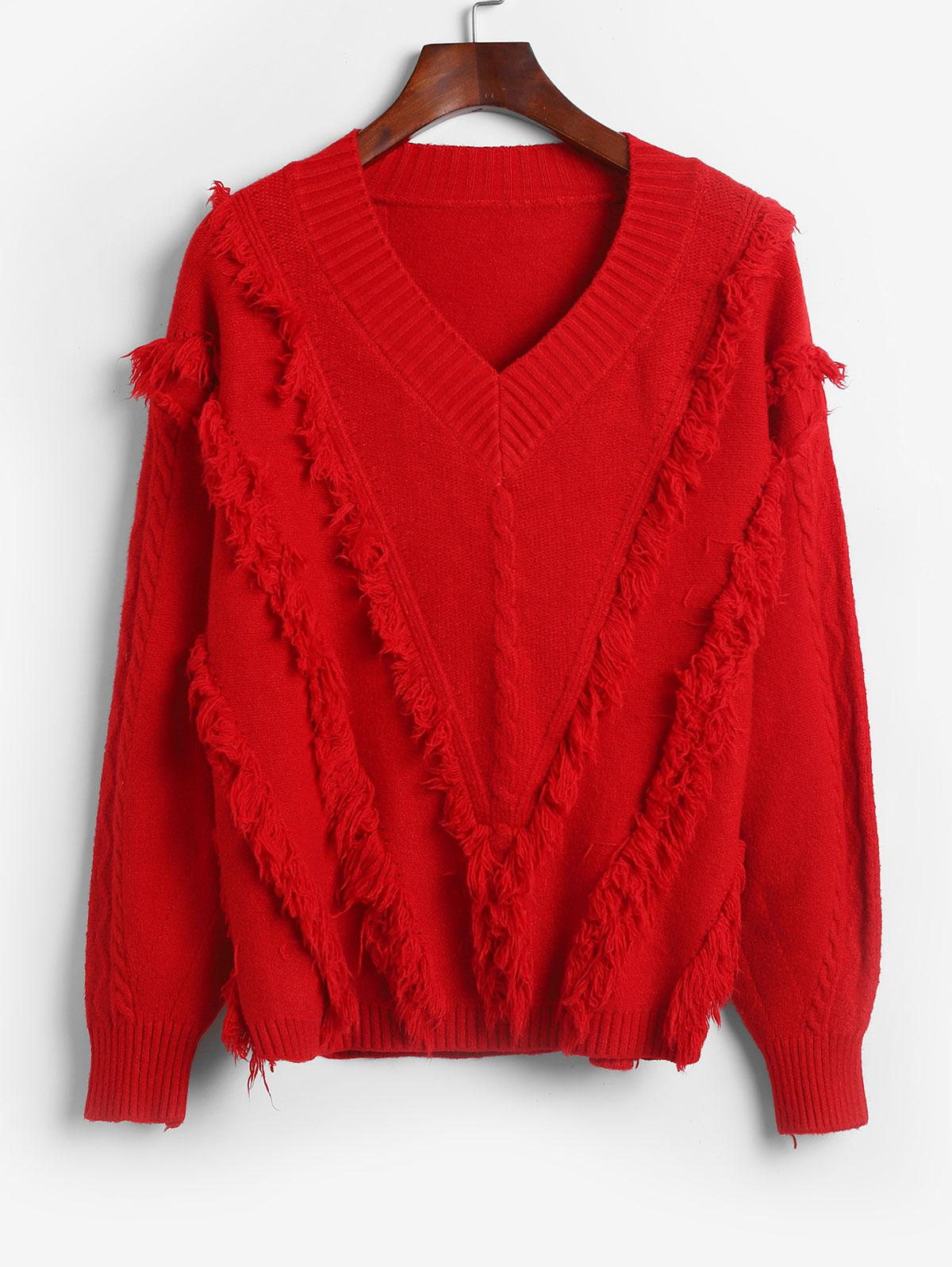Pullover Cable Knit Frayed V Neck Sweater, Red