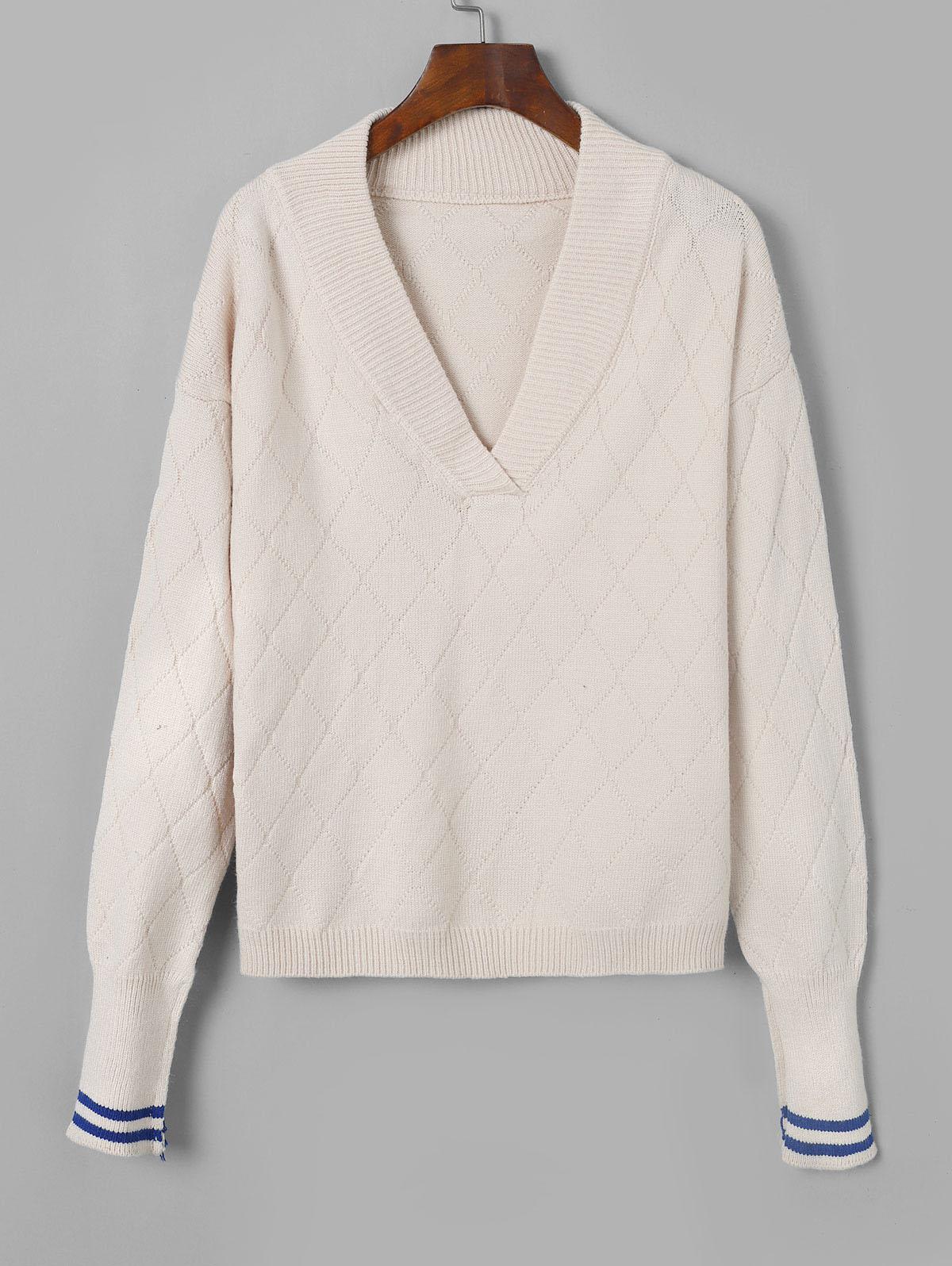 V Neck Striped Drop Shoulder Sweater
