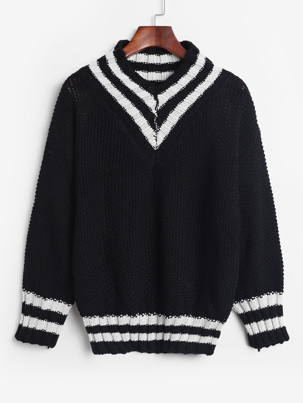 V Neck Pullover Stripes Panel Sweater