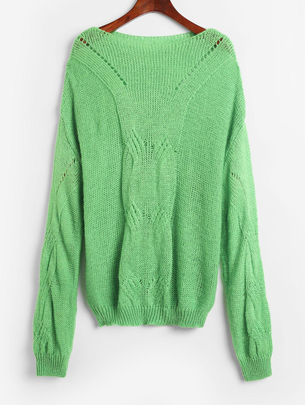 Pointelle Knit Solid Loose Sweater