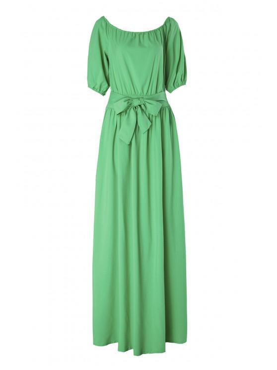 Slash Neck Green Half Sleeve Dress - Vert M