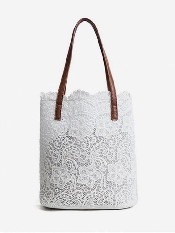 new Contrast Handle Lace Shoulder Bag - MILK WHITE