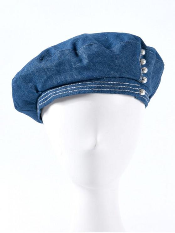 Sombrero de boina de mezclilla con perlas de imitación - Azul