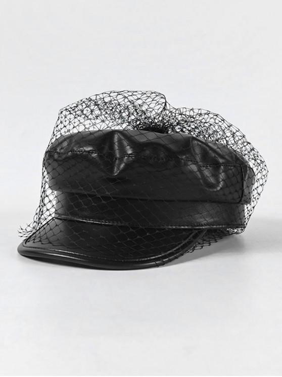 ef4fd86a2 Mesh Embellished PU Leather Octagonal Cap BLACK