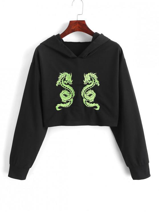 Sudadera con capucha bordada ZAFUL Dragon recortada - Negro XL