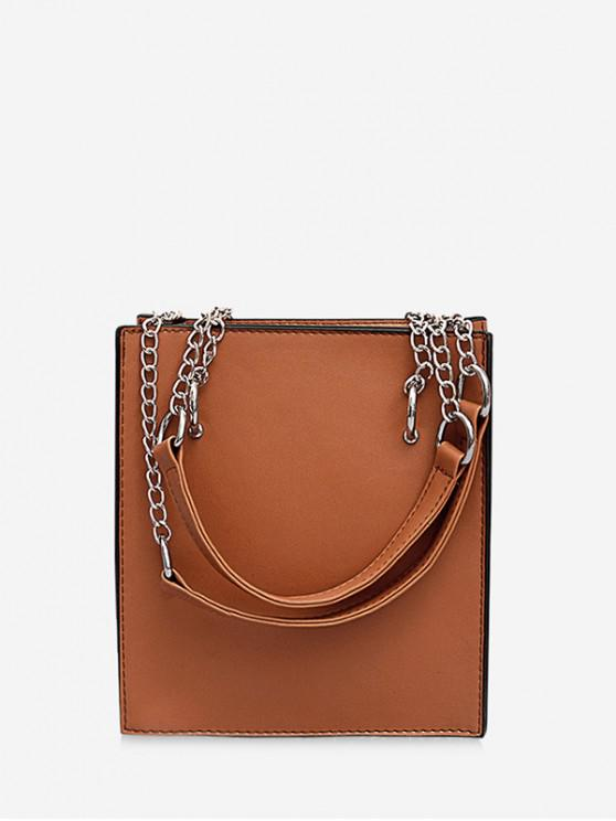 outfits Simple Faux Leather Shoulder Bag - LIGHT BROWN