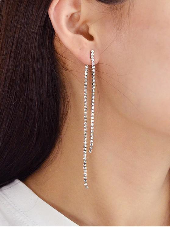 womens Long Tassel Rhinestone Stud Earrings - SILVER