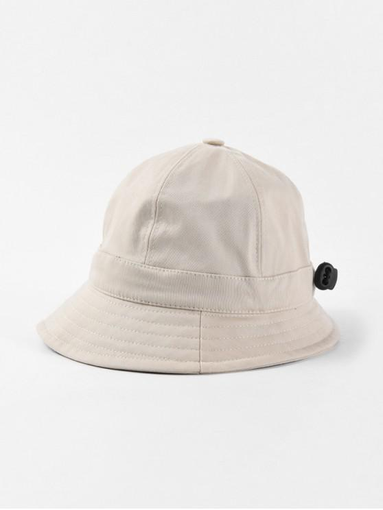women Adjustable Folding Round Bucket Hat - BEIGE
