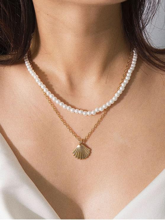 Künstliche Perlen- Jakobsmuschel -Doppelte Geschichtete Halskette - Gold