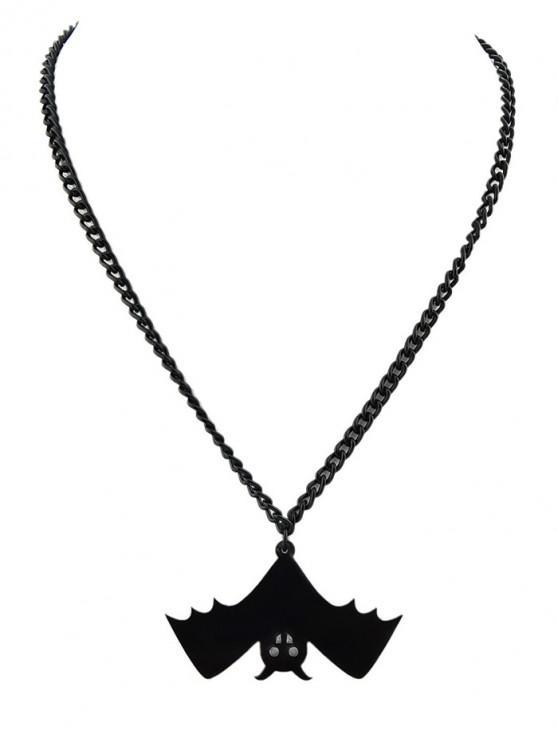 womens Halloween Bat Shaped Pendant Chain Necklace - BLACK EEL