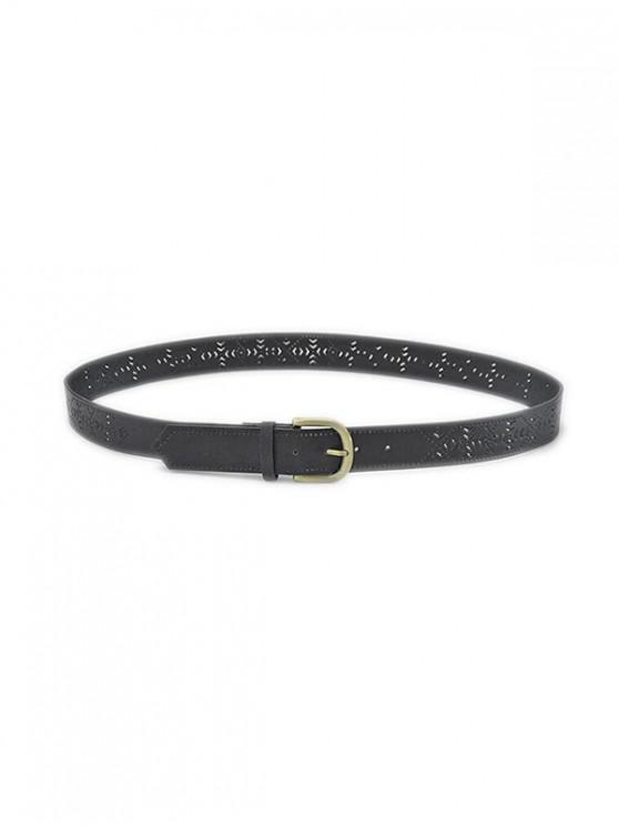 latest Hollow Out Geometric Pin Buckle Belt - BLACK