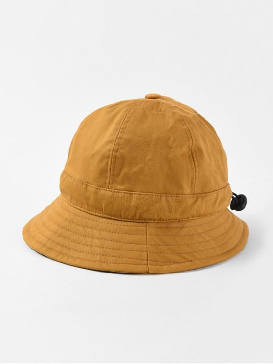 fashion Adjustable Folding Round Bucket Hat - YELLOW