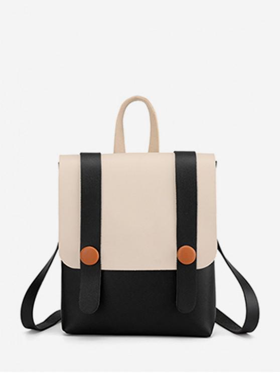 chic Contrast Strap Accent Flap PU Backpack - BLACK