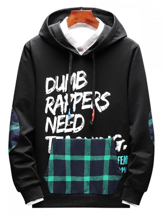 shops Plaid Spliced Letter Graphic Elbow Patch Casual Hoodie - LIGHT SEA GREEN XS