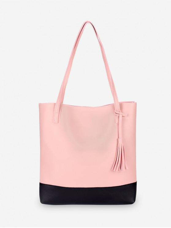 shop Tassel Color Block Shoulder Bag - PINK