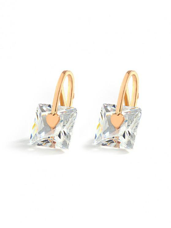 shops Artificial Crystal Geometric Earrings - GOLD SQUARE
