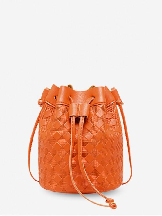 affordable Checkered Embossed Crossbody Bucket Bag - PUMPKIN ORANGE