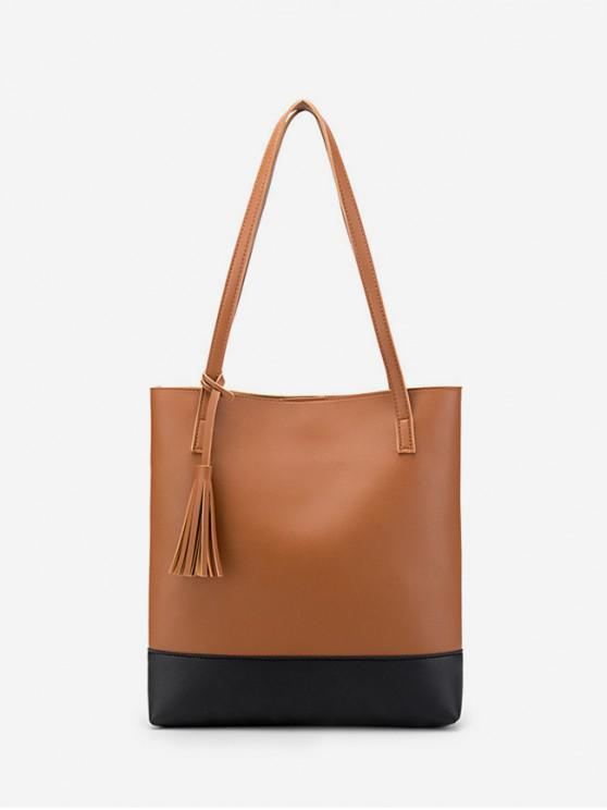 buy Tassel Color Block Shoulder Bag - LIGHT BROWN