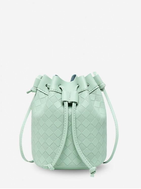 womens Checkered Embossed Crossbody Bucket Bag - PALE BLUE LILY