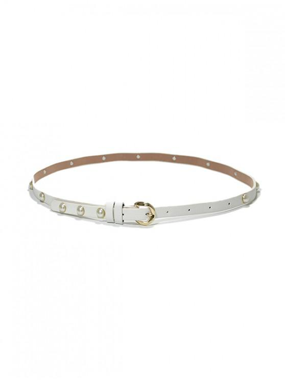 women Faux Pearl Narrow Pin Buckle Belt - WHITE