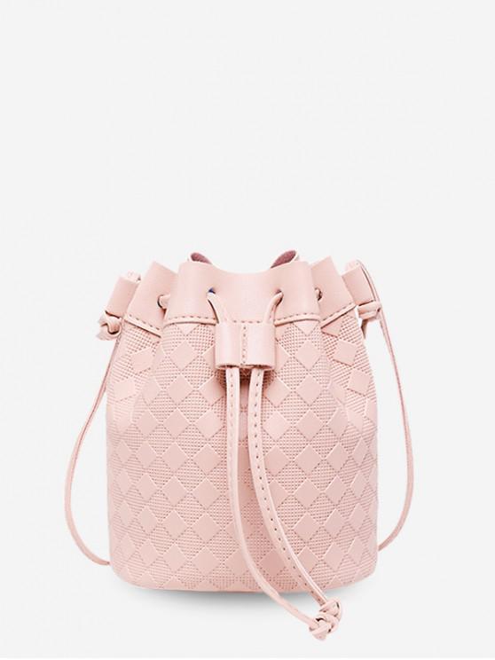 ladies Checkered Embossed Crossbody Bucket Bag - PIG PINK