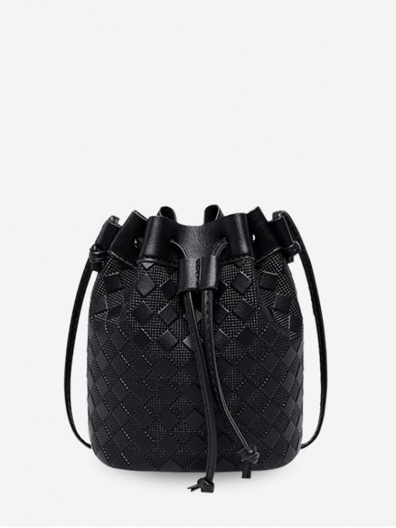 lady Checkered Embossed Crossbody Bucket Bag - BLACK