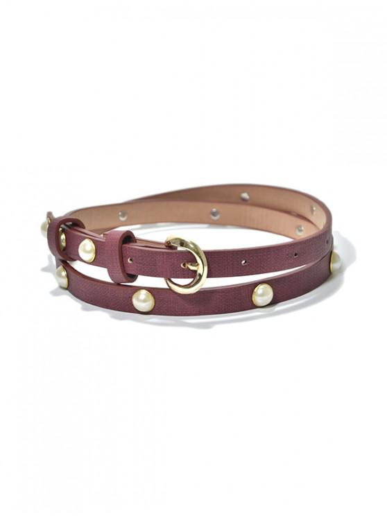 new Faux Pearl Narrow Pin Buckle Belt - RED WINE