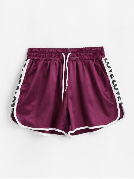 buy Letter Side Piping Pocket Dolphin Shorts - RED WINE L