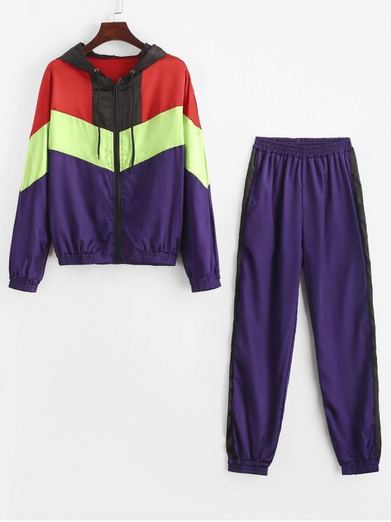 Kontrast Zip Up Satin Zwei Stück Anzug mit Kapuze - Multi M