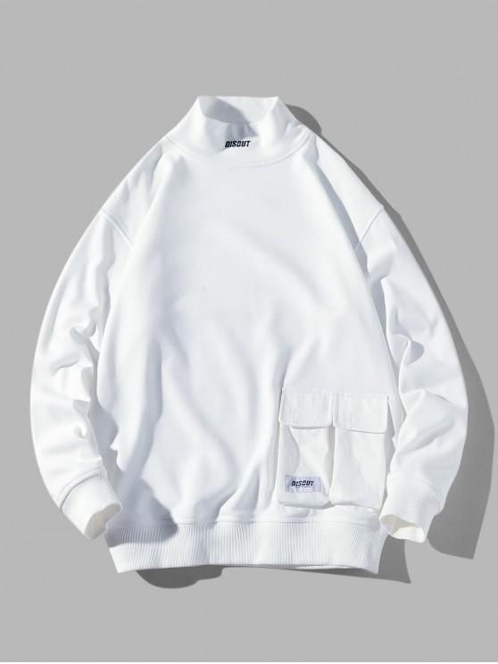 レタープリントフラップポケットソリッドカラーカジュアルスウェットシャツ - 白 M