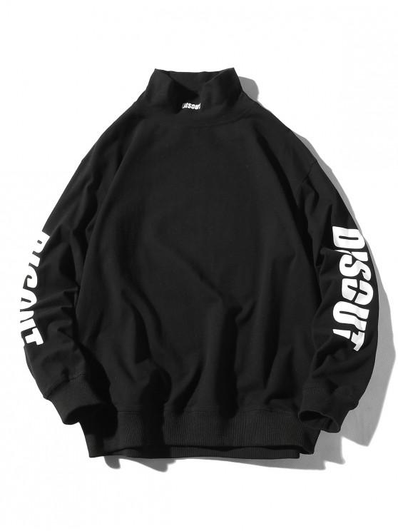chic Letter Graphic Printed Casual Pullover Sweatshirt - BLACK M