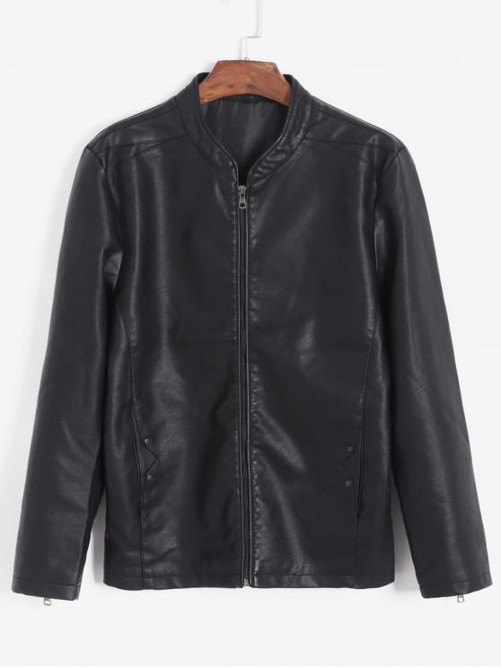 hot Solid Color PU Leather Jacket - BLACK S