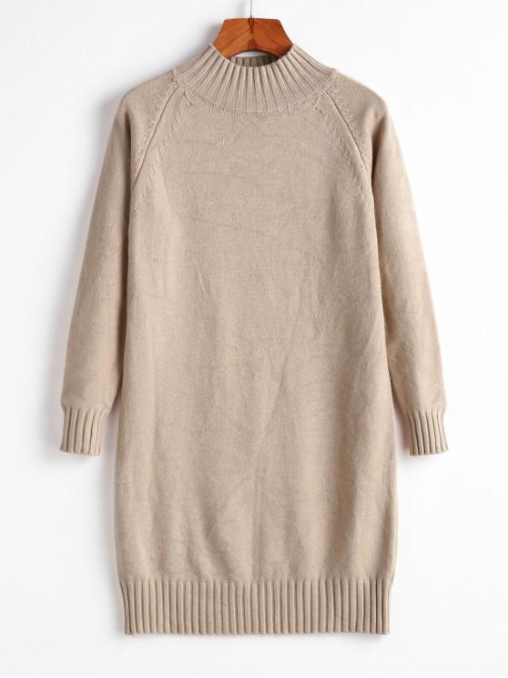 outfits Longline Raglan Sleeve Mock Neck Sweater - CAMEL BROWN ONE SIZE