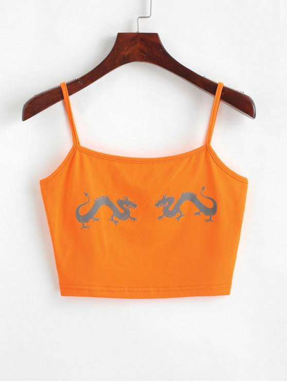 Dragons Graphic - Kurz geschnittenes Camisole - Orange L
