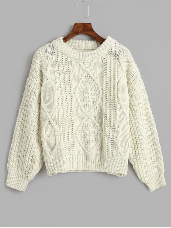 Suéter de punto de cable grueso y brillante - Blanco Talla única