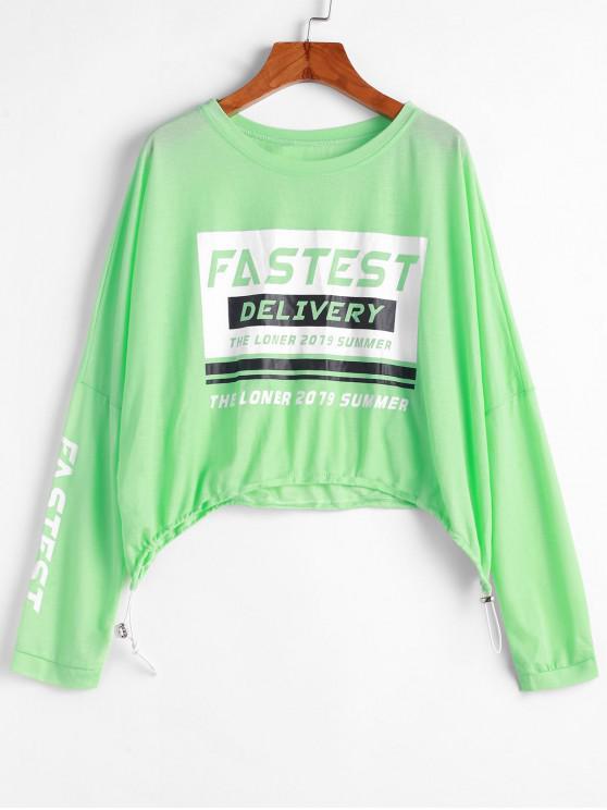 hot Drawstring Slogan Graphic Cropped Sweatshirt - MINT GREEN ONE SIZE