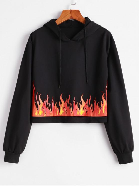 women Flame Print Pullover Drop Shoulder Hoodie - BLACK S