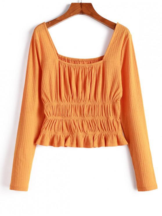 online ZAFUL Knitted Smocked Square Neck T-shirt - SANDY BROWN XL