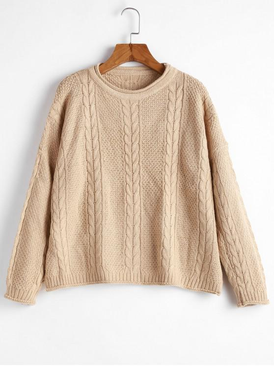 fancy Drop Shoulder Cable Knit Slit Sweater - CAMEL BROWN