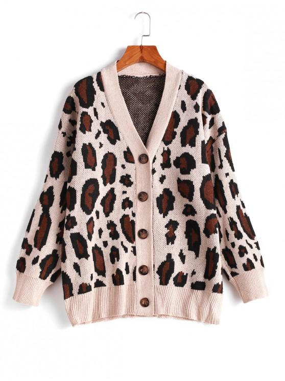 women Button Up V Neck Leopard Cardigan - LEOPARD ONE SIZE