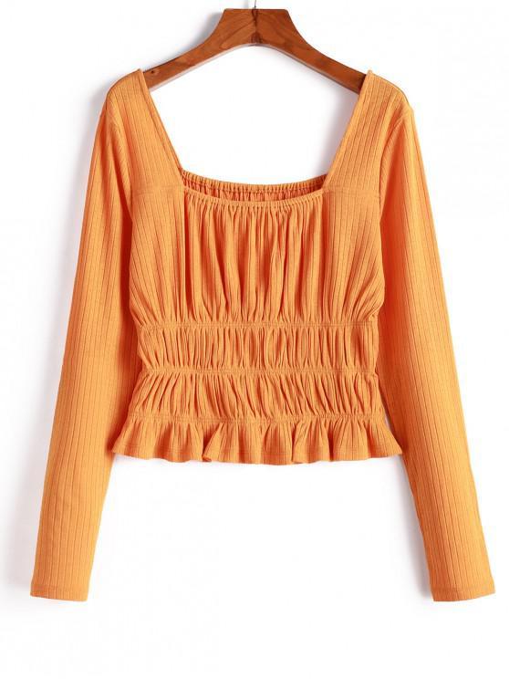 Camiseta de cuello cuadrado de punto ahumado ZAFUL - Sandy Brown M