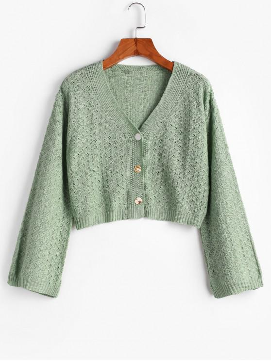 affordable Cropped Pointelle Knit Button Up Cardigan - GREEN ONE SIZE