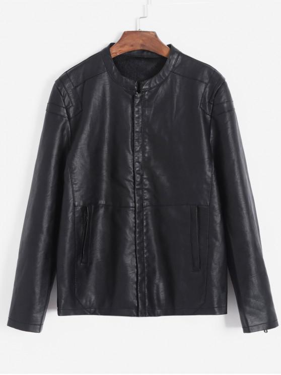 affordable Solid Color Casual PU Jacket - BLACK XS