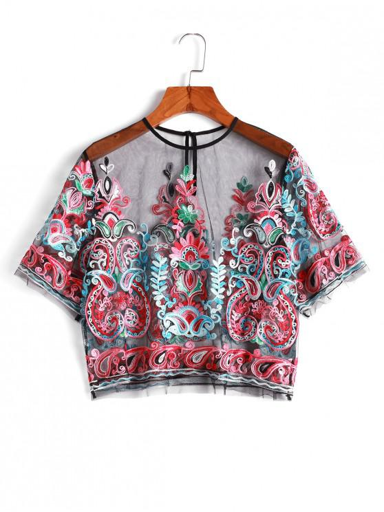 latest ZAFUL Sheer Mesh Embroidered Top - MULTI-A S