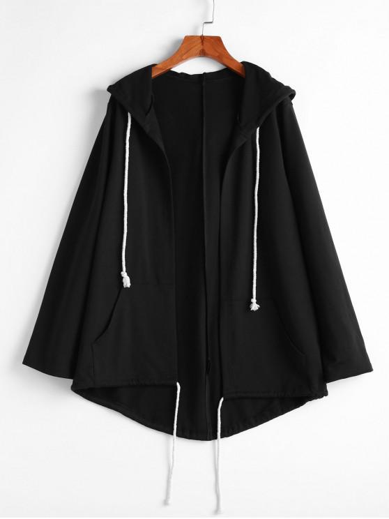 new Hooded Drawstring Pocket Open Slit Tunic Coat - BLACK S