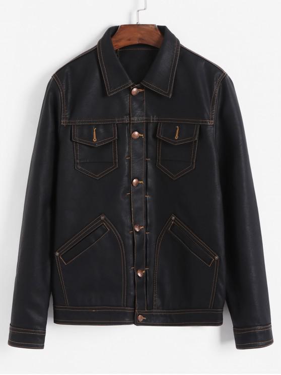 latest Contrast Stitching Chest Pocket Button PU Jacket - BLACK S
